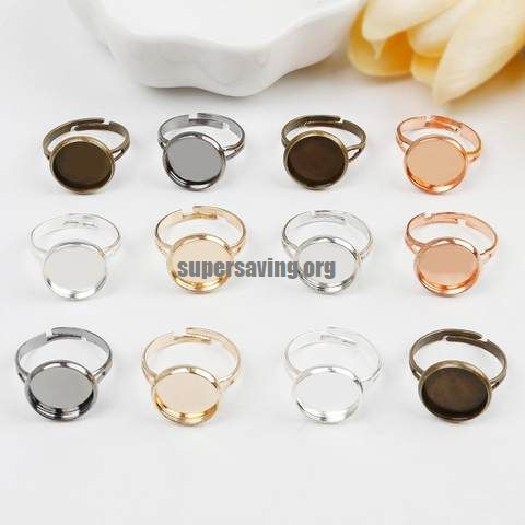 10pcs lot Adjustable Blank Ring Base Fit Dia 10 12 14 16 18 20 25 mm Glass Cabochons Cameo Settings Tray Diy Jewelry Making Ring