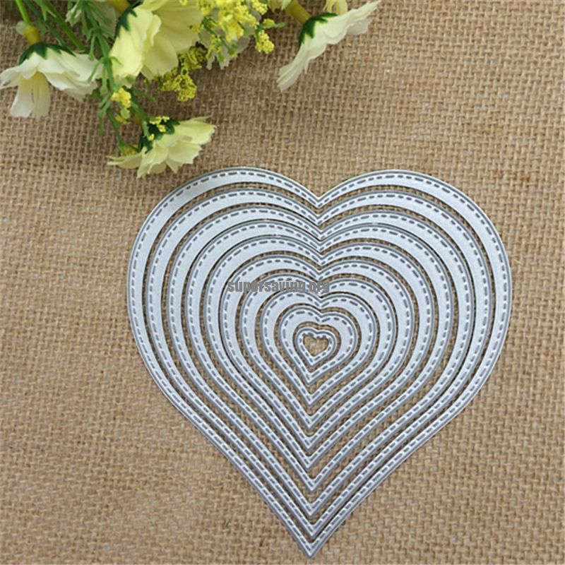 10pcs lot. Love Heart Shapes Metal Cutting Dies Stencil Scrapbooking Photo Album Card Paper Embossing Craft DIY Cutting Dies