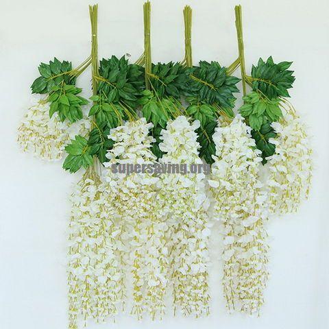 12pcs lot Wedding Decor Artificial Silk Wisteria Flower Vines hanging Rattan Bride flowers Garland For Home Garden Hotel