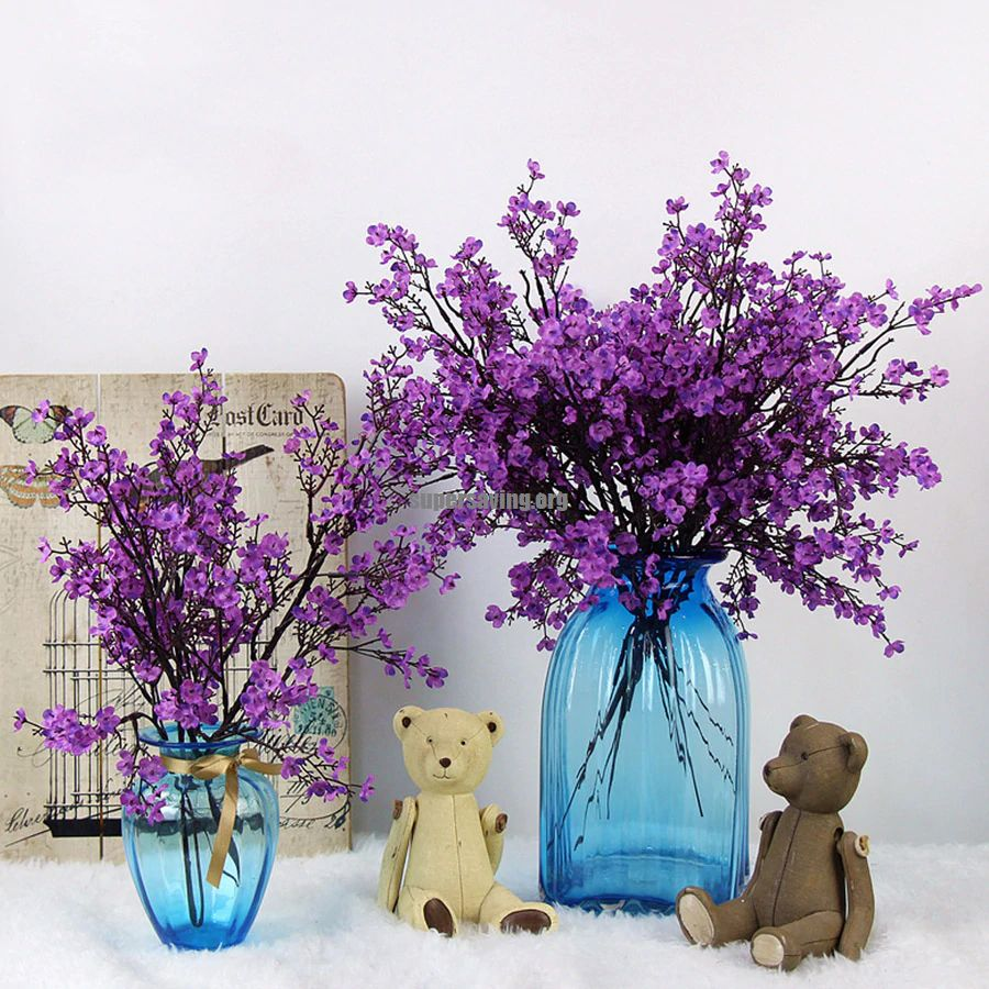 Cherry Blossoms Artificial Flowers Babys Breath Gypsophila Fake Flowers DIY Wedding Decoration Home Bouquet Faux Flowers Branch