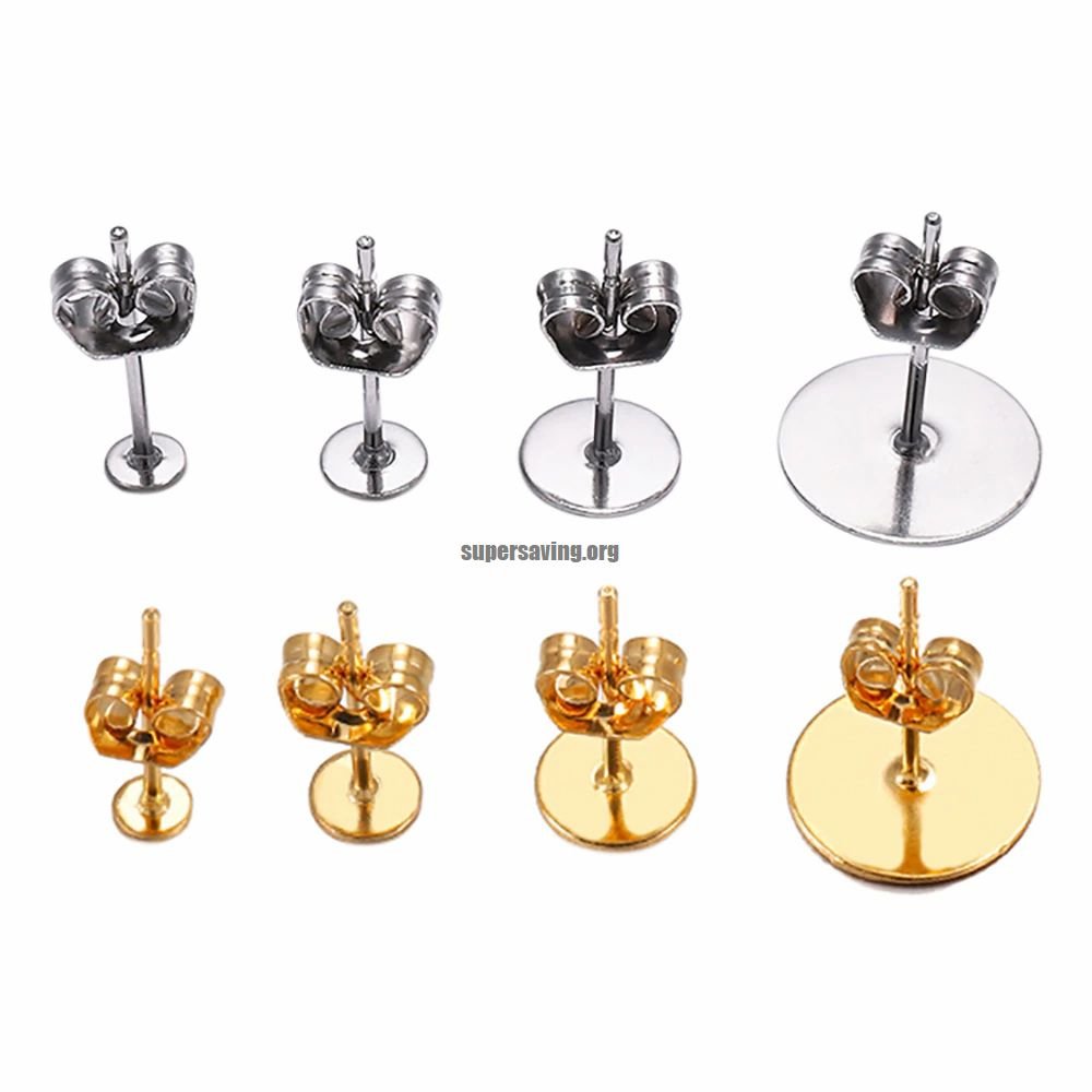 20 100pcs lot Gold Stainless Steel Blank Post Earring Studs Base Pins With Earring Plug Findings Ear Back For DIY Jewelry Making