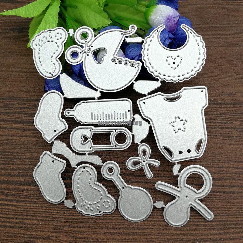 12 PCS Set Cute Baby Suit Chrildrens Day Metal Cutting Dies Knife mold cutter DIY Scrapbook Paper Photo Craft Template Dies