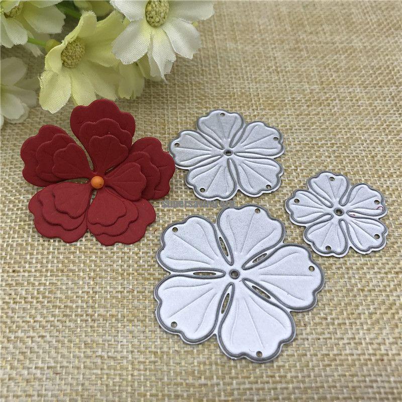 3pcs flower decoration Metal Cutting Dies Stencil Scrapbooking Photo Album Card Paper Embossing Craft DIY