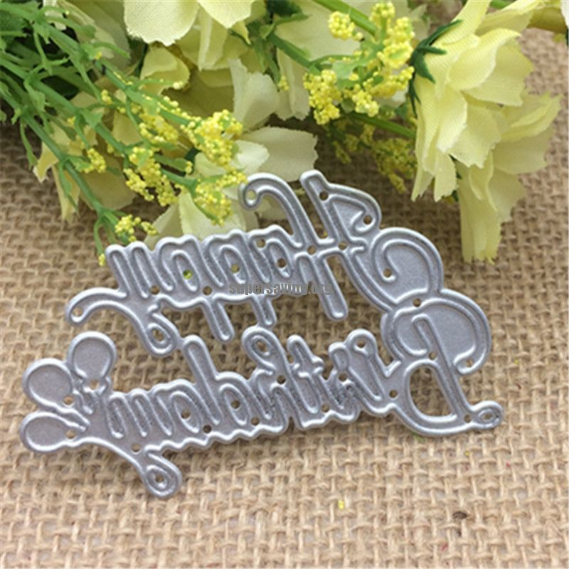Wish letters happy birthday Metal cutting dies Stencil Scrapbooking Photo Album Card Paper Embossing Craft DIY Die Cut