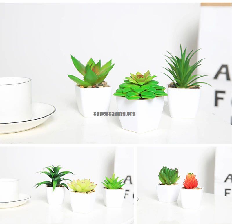 mini Cactus Succulent Bonsai Fake Potted for desk Decor Plants Artificial Succulents with Pot Home Decoration Accessories