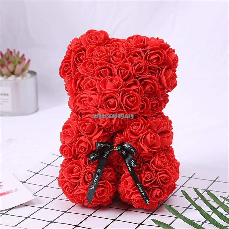 Valentines Day Gift Red Rose Teddy Bear Rose Artificial Flowers Home Decoration Christmas Gifts Teddy Rose Bear Soap Valentines