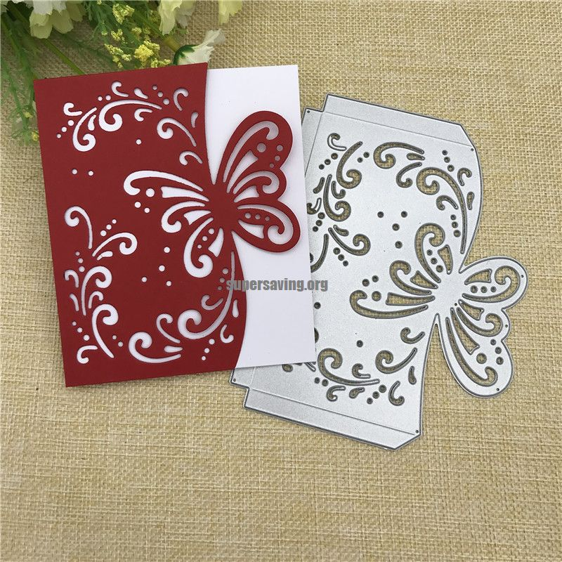 Butterfly envelope greeting card Metal Cutting Dies Stencil Scrapbooking Photo Album Card Paper Embossing Craft DIY