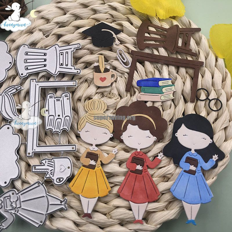 Bunnymoon Teachers Day Metal Cutting Dies Stencils For Scrapbooking Photo Album Decoration Embossing Paper Card Craft