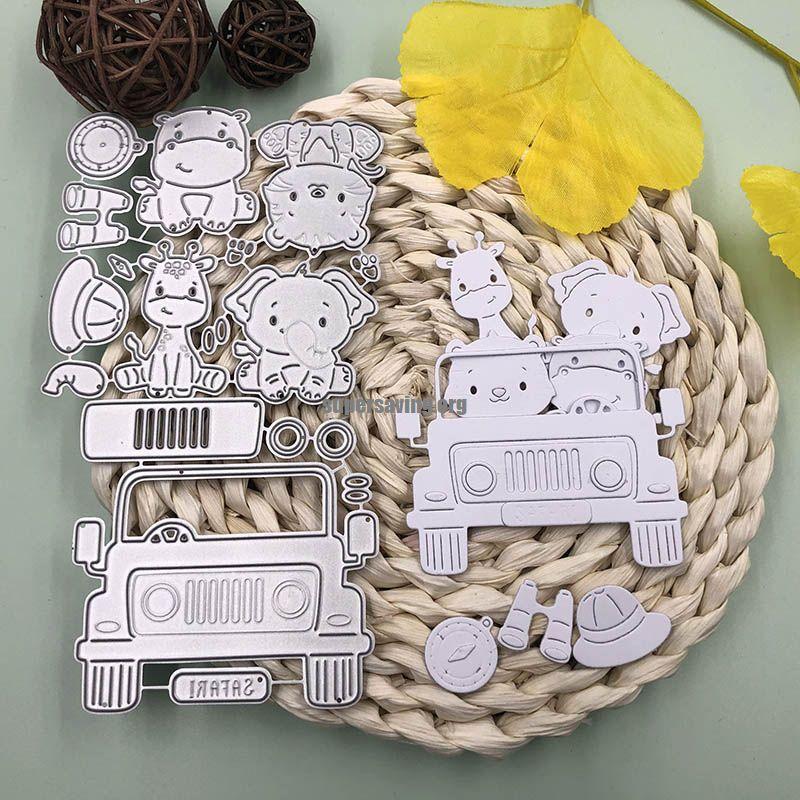 Bunnymoon Cute Animals on the Car Metal Cutting Dies For Scrapbooking DIY Cards Stencil Paper Craft Handmade Album
