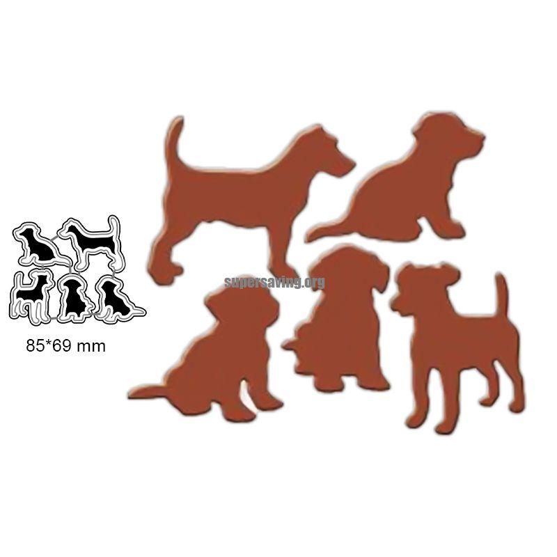 5 pieces set Lovely Dog Dies Metal Cutting Dies Stencil for Scrapbooking Album Decoration Craft Die Cut for Card Making
