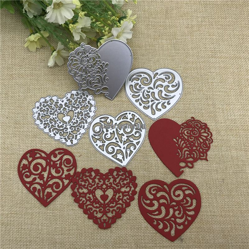4pcs set Lace Love Metal Cutting Dies Stencils For DIY Scrapbooking Decorative Embossing Handcraft Die Cutting Template
