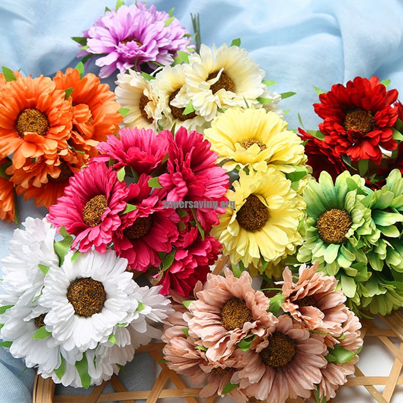 6Pcs lot Mini Gerbera Handmade Silk Artificial Flowers Bouquet Home Garden Decoration Wedding Bride Craft Wreath Accessories DIY