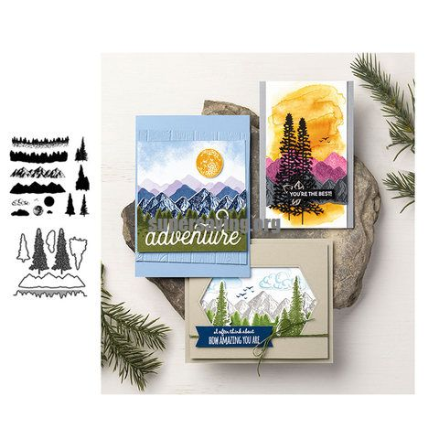 mountain tree stamps and dies set 2020 clear stamp Scrapbooking & Stamping DIY album rubber metal cutting dies gift card stencil
