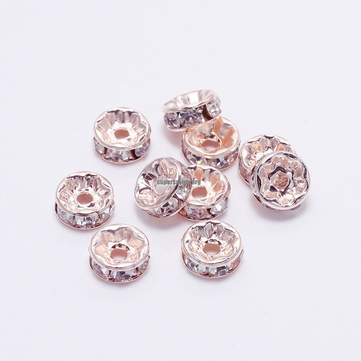 50pcs lot 4 6 8 10mm Gold Silver Rhinestone Rondelles Crystal Bead Loose Spacer Beads for DIY Jewelry Making Accessories Supplie