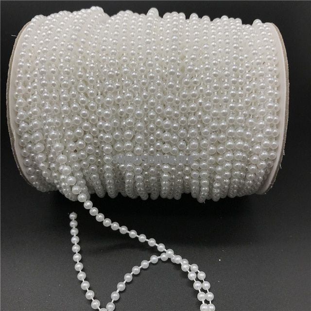 2.5-10mm White Ivory Imitation Pearl Beads Chain Garland Flowers Acrylic Beads For Wedding Decoration DIY Jewelry Accessories