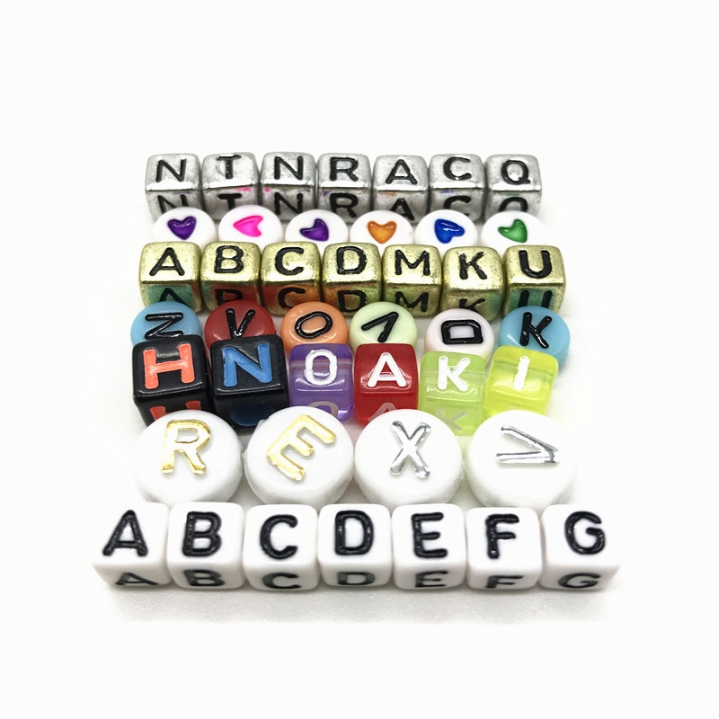 100pcs 6mm Mixed Square Alphabet Letter Beads Charms Bracelet Necklace For Jewelry Making DIY Accessories-in Beads from Jewelry & Accessories