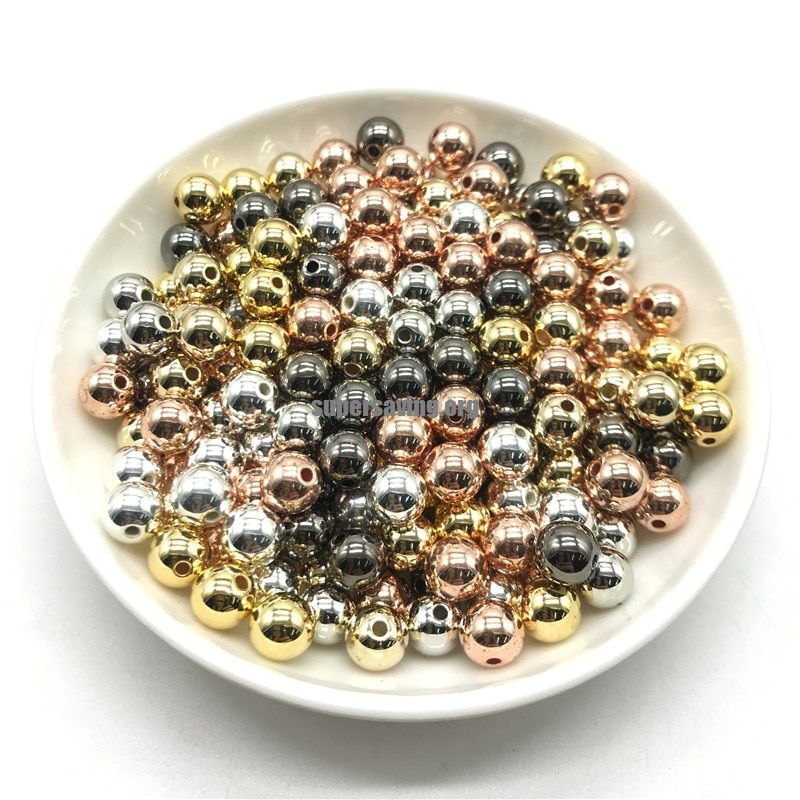 3 4 6 8 10 12mm 30 500pcs Gold/Silver/Gun Metal Plated CCB Round Seed Spacer Beads For Jewelry making DIY-in Beads from Jewelry & Accessories