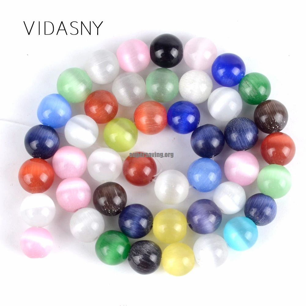 """Natural Mineral Gem Colorful Cat Eye Stone Round Beads For Jewelry Making 4mm 12mm Spacer Loose Beads Diy Bracelet Necklace 15&39&39