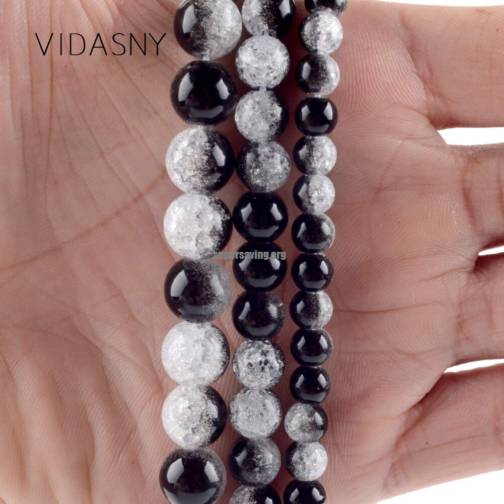 Natural Mineral Stone Black White Snow Cracked Crystal Beads For Jewelry Making 6mm 12mm Round Beads Diy Bracelet Necklace 15&39&39|Beads| | - </title> <meta n