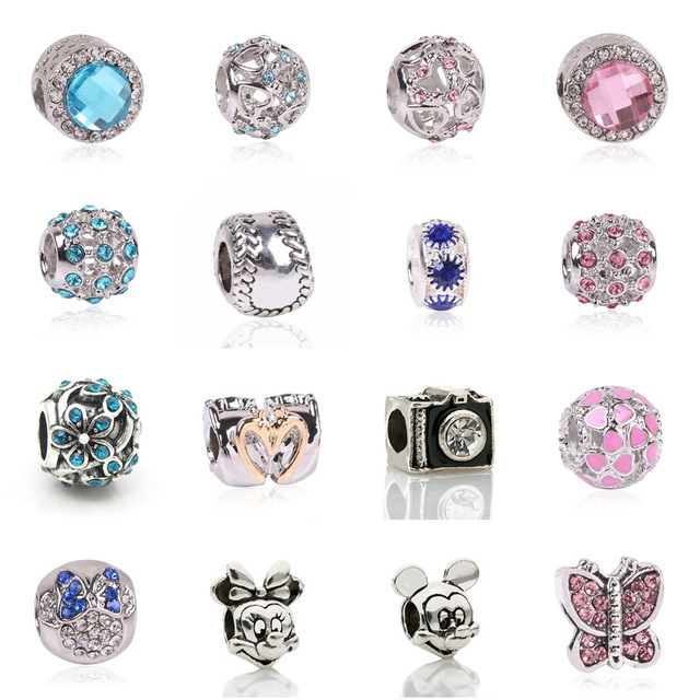 Fashion Perles Jewelry Silver Color Cute Mickey Minnie Bijoux